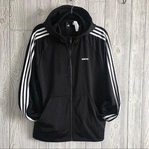 ADIDAS size M Track Training Hooded Black Jacket